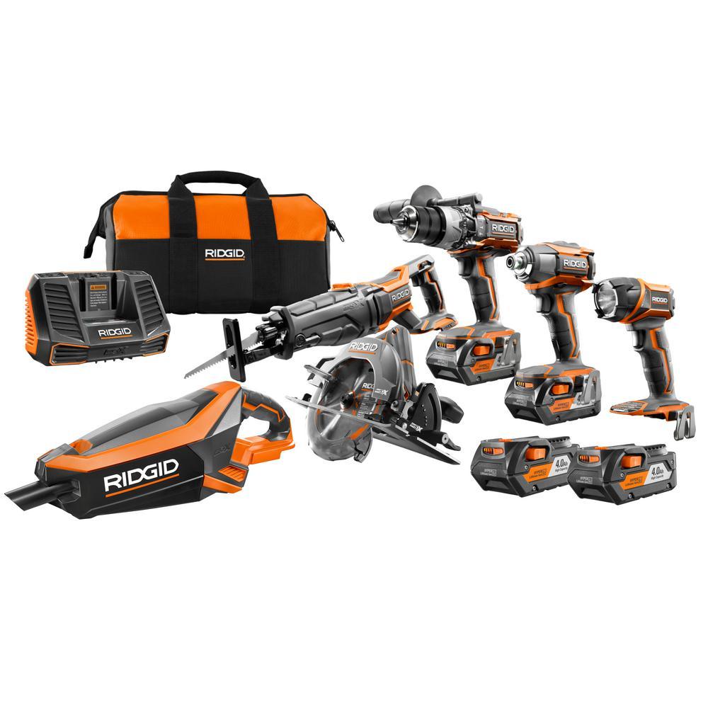 GEN5X 18-Volt 5-Piece Combo Kit with BONUS (2) Pack 18-Volt 4.0 Ah Batteries and 18-Volt Brushless Vacuum