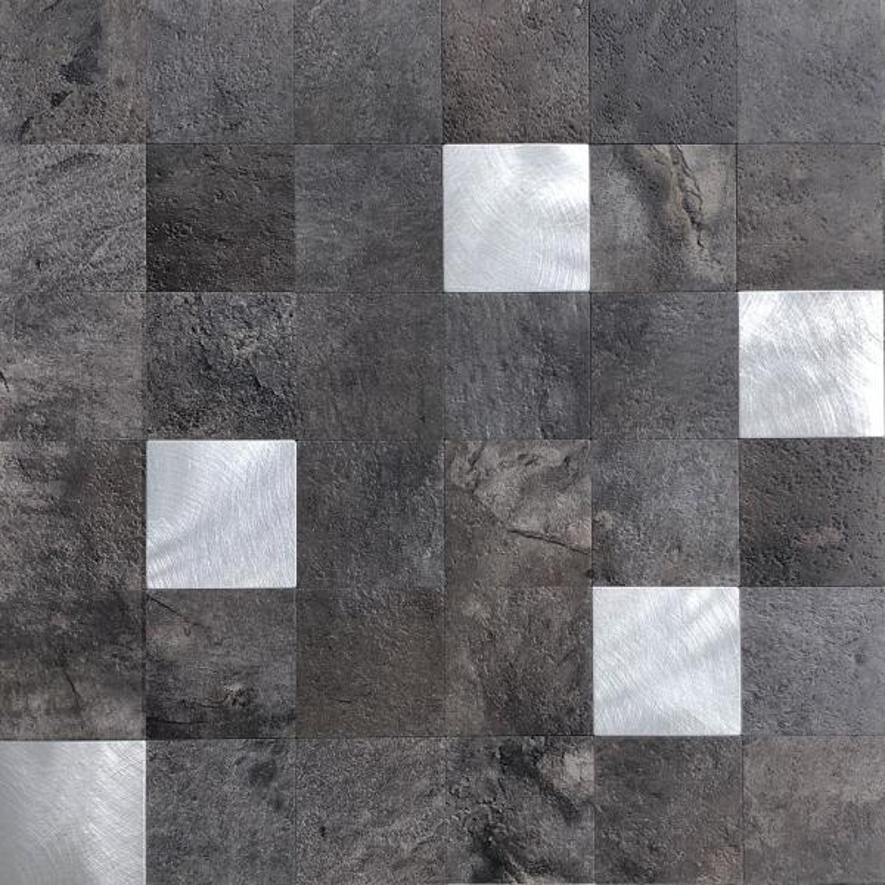 DIP Graphite Silver Mosaic Tile 12 in. x 12 in. Self-Adhesive PVC Backsplash (10 pack)