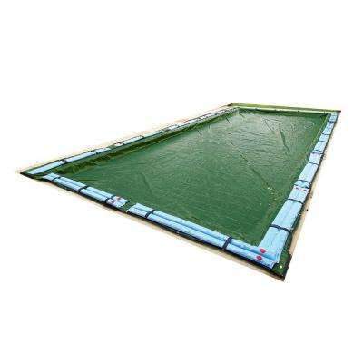 12-Year 12 ft. x 24 ft. Rectangular Forest Green In Ground Winter Pool Cover