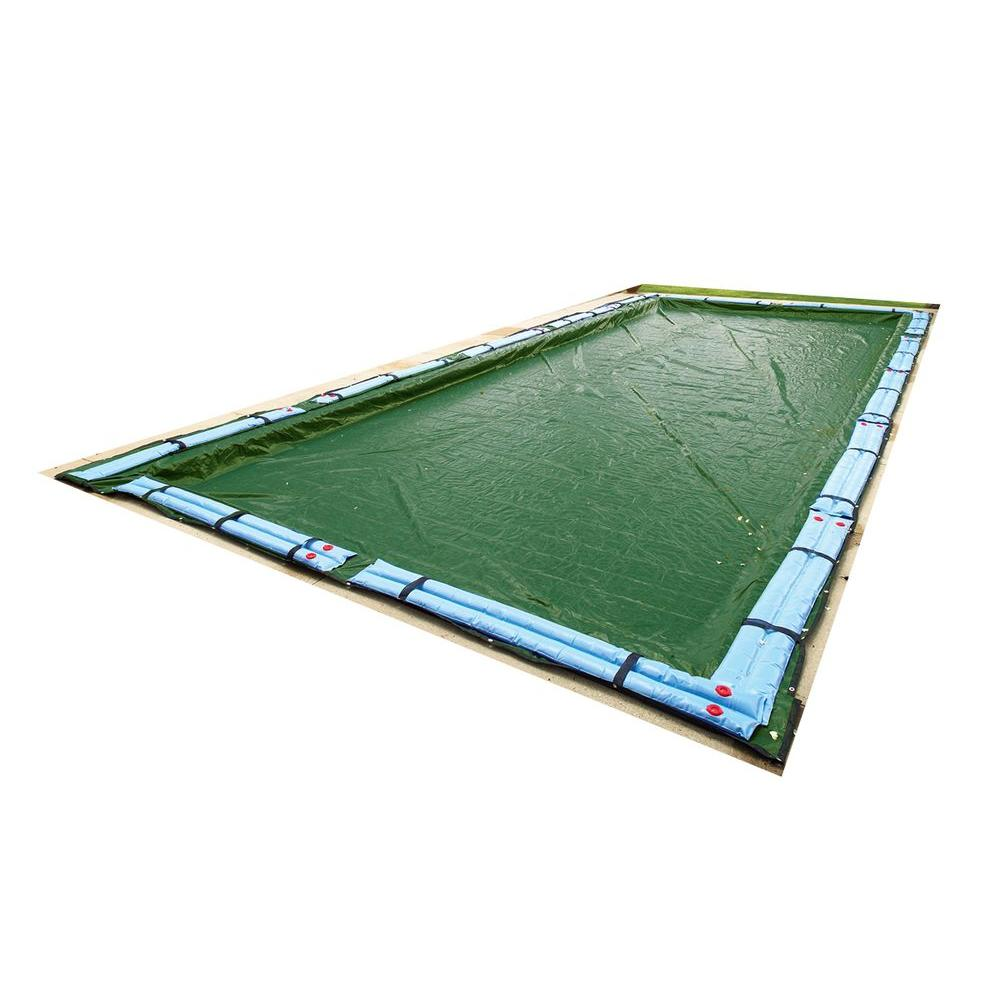 Blue Wave 12 Year 30 Ft X 50 Ft Rectangular Forest Green In Ground Winter Pool Cover Bwc864 The Home Depot