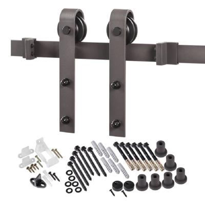 8 ft. Premium Bronze Interior Modern Country Rustic Wood Barn Door Closet Hardware Track Kit