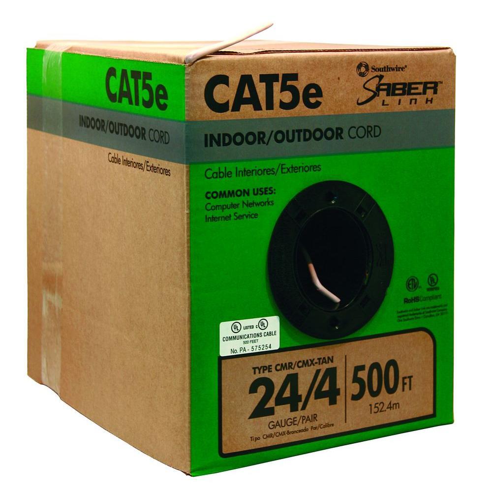 500 ft. Tan 24/4 CAT5e CMR-CMX Indoor/Outdoor Data Cable