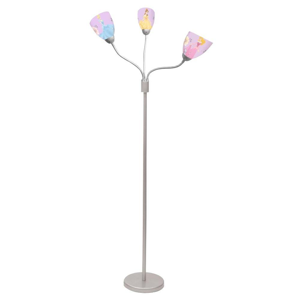 Disney 53 in. Princess 3-Light Stainless Steel Floor Lamp