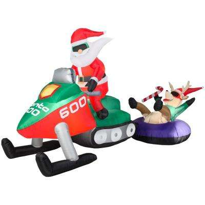 Holiday 8 ft. W pre-lit Inflatable Santa Snowmobile  Scene