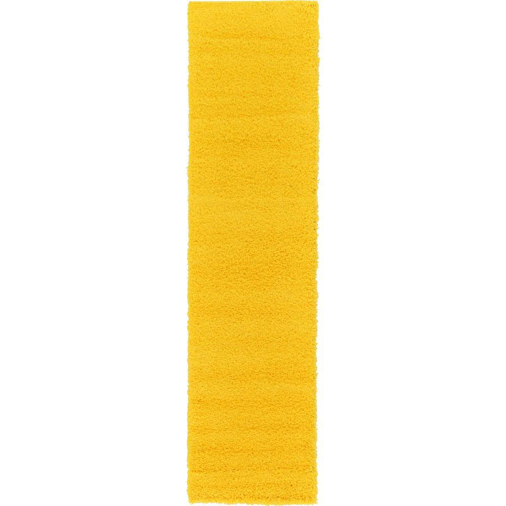 Solid Shag Tuscan Sun Yellow 10 ft. Runner Rug
