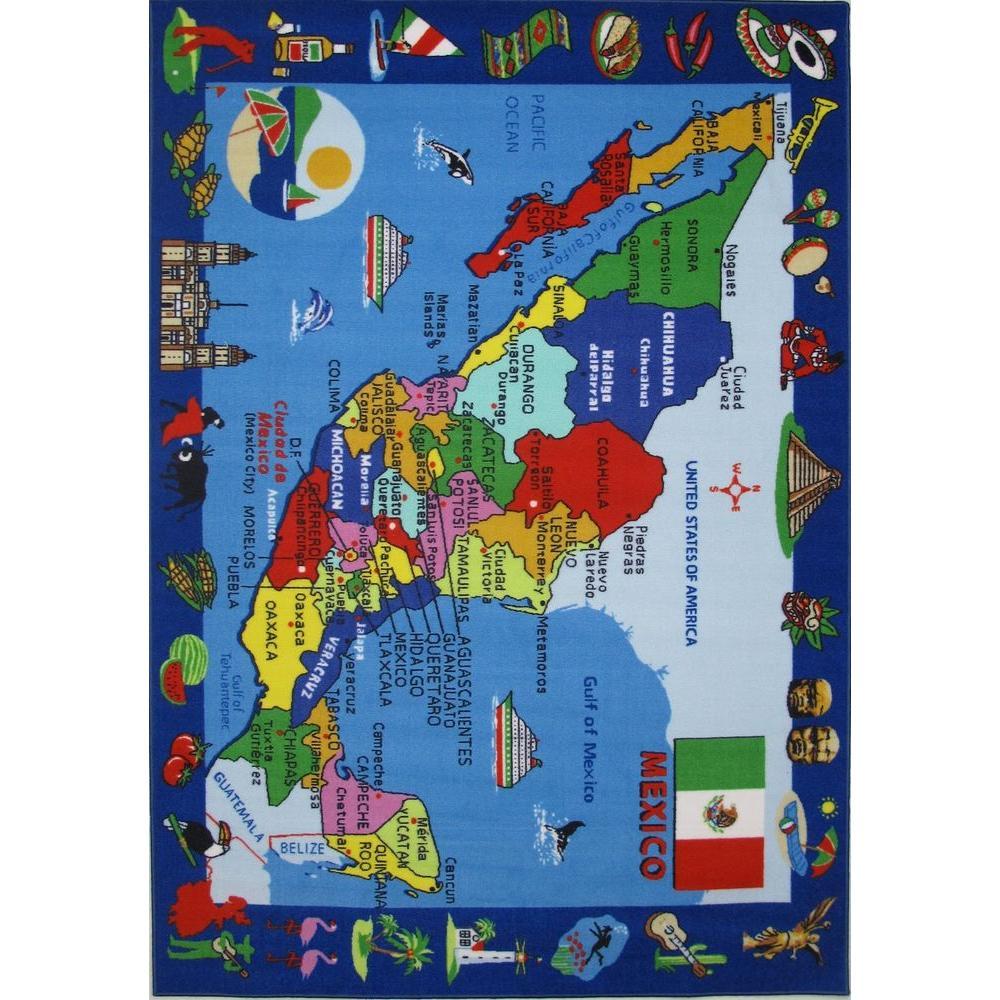LA Rug Fun Time Map Of Mexico Multi Colored 8 X 11 Ft