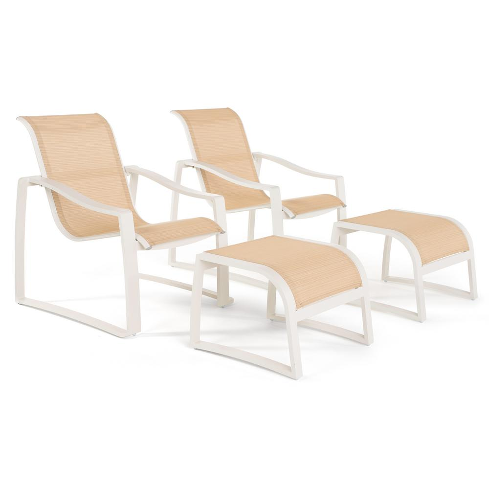 Zen 4 Piece Stationary Sling Outdoor Lounge Chair And Ottoman Set In Cream