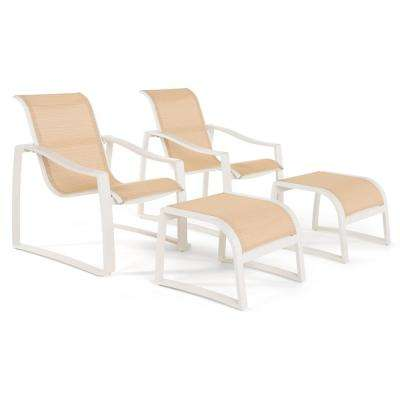 Zen 4-Piece Stationary Sling Outdoor Lounge Chair and Ottoman Set in Cream