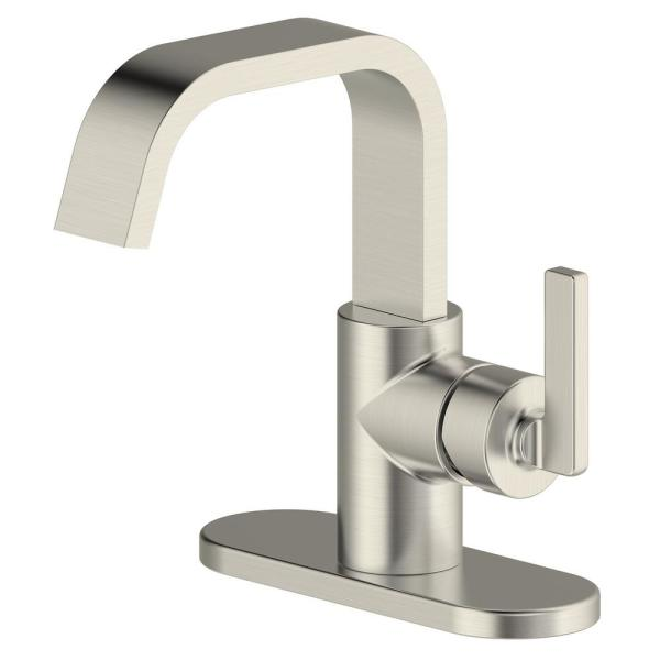 Saint-Lazare 4 in centerset Single-Handle Ribbon Spout Bathroom Faucet in Brushed Nickel
