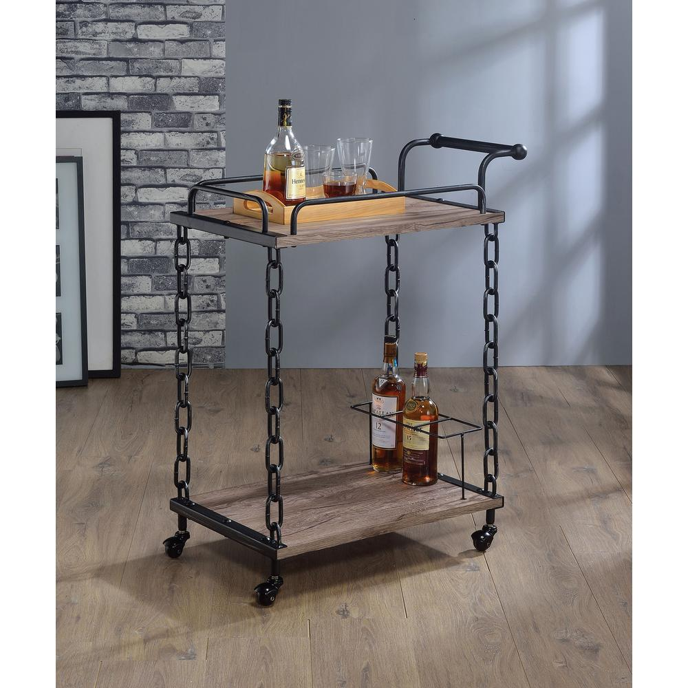 Acme Furniture Jo Rustic Oak Black Serving Cart 98172 The Home Depot