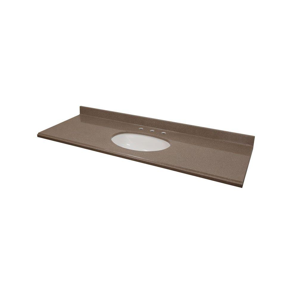 St. Paul 61 in. Colorpoint Composite Vanity Top in Mocha with White Undermount Bowl