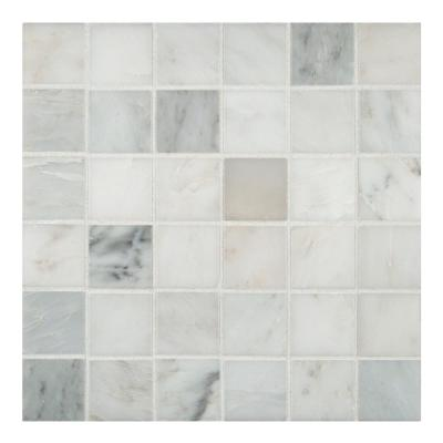 Greecian White 12 in. x 12 in. x 10 mm Honed Marble Mesh-Mounted Mosaic Tile (10 sq. ft./case)