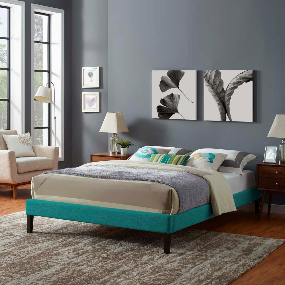 Sofa King To Ol: MODWAY Tessie Teal Queen Upholstered Fabric Bed Frame With