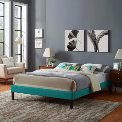Tessie Teal Queen Upholstered Fabric Bed Frame with Squared Tapered Legs