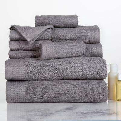 Ribbed Egyptian Cotton Towel Set in Silver (10-Piece)