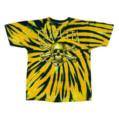 Adult Extra Large Cotton Tie Dyed Full Color Logo Short Sleeved T-Shirt, Yellow and Black