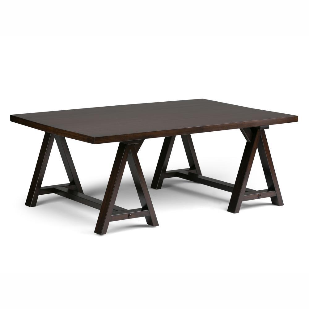 Simpli Home Sawhorse Dark Chestnut Brown Coffee Table