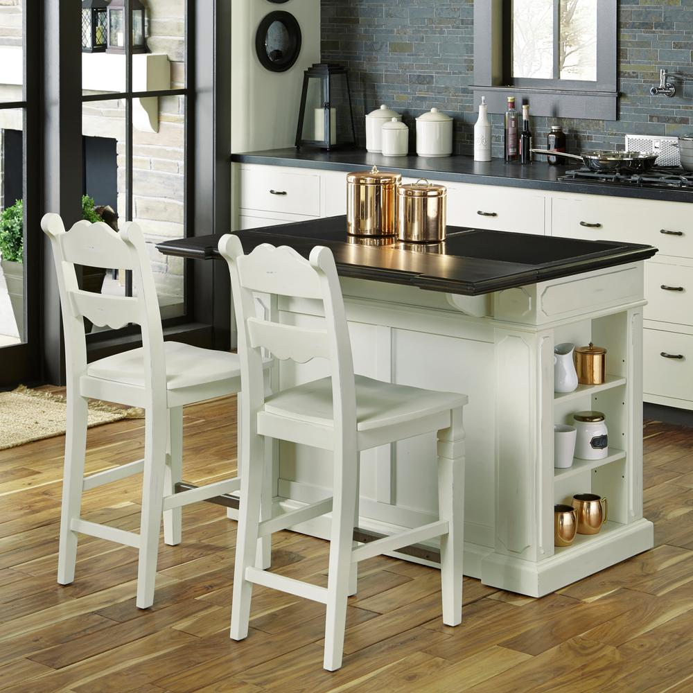 Home Styles Fiesta Weathered White Kitchen Island With Seating-5076 ...