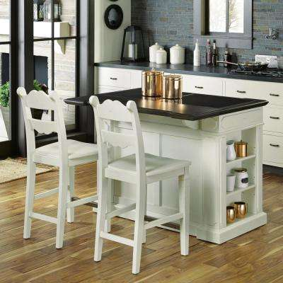 Fiesta Weathered White Kitchen Island With Seating