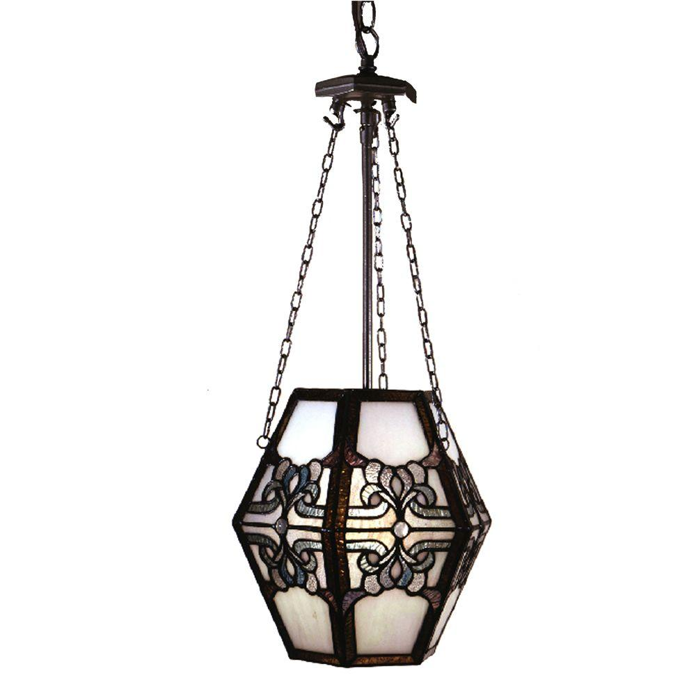 Dale Tiffany Jewel Crystal 1-Light Silver Hanging Pendant Lamp