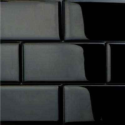 Contempo Classic Black Polished 3 in. x 6 in. x 8 mm Glass Subway Tile