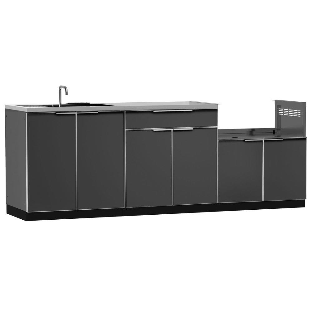 Newage Products Aluminum Slate 4 Piece 97x36x24 In Outdoor Kitchen Cabinet Set With Covers