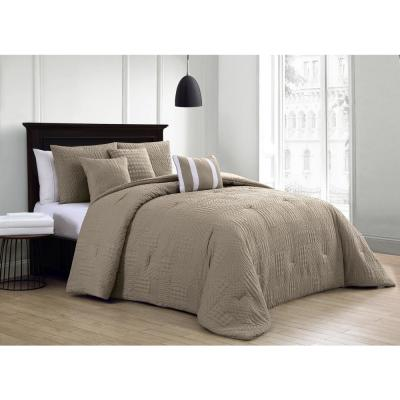 Yardley 10-Piece Embossed Taupe Queen Comforter Set with Sheet Set