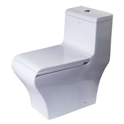 1-Piece 0.8/1.32 GPF Dual Flush Elongated Toilet in White