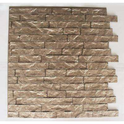 Ledge Stone 24 in. x 24 in. Gold Champagne PVC Wall Panel