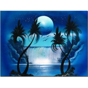 Trademark Fine Art 18 In X 24 In Moon Over The Waterfall