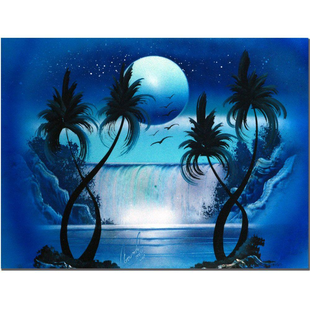 Marvelous Canvas Paintings Part - 8: Trademark Fine Art 18 In. X 24 In. Moon Over The Waterfall I Canvas
