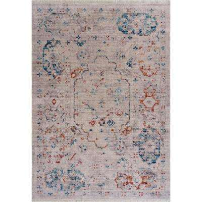 Mirage Light Gray/Multi 5 ft. 3 in. x 7 ft. 6 in. Fringed Charming Distressed Area Rug
