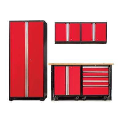 Pro 3 Series 85 in. H x 102 in. W x 24 in. D 18-Gauge Welded Cabinet Set in Red With Workbench and Casters (6-Piece)