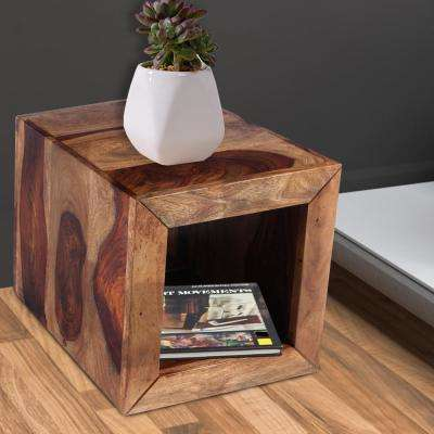 Cube Shaped Brown Rosewood Side Table with Cutout Bottom