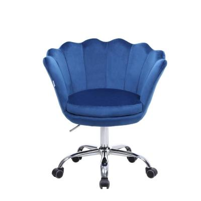 Blue Velvet Swivel with 360°Castor Wheels Office Desk Chair Shell Accent Chair Height Adjustable Accent Chair
