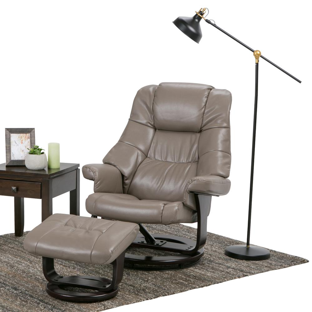 Delicieux Ledi Taupe Air Leather Recliner (Set Of 1)