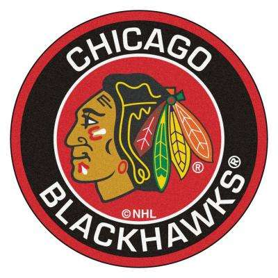 NHL Chicago Blackhawks Black 2 ft. x 2 ft. Round Area Rug