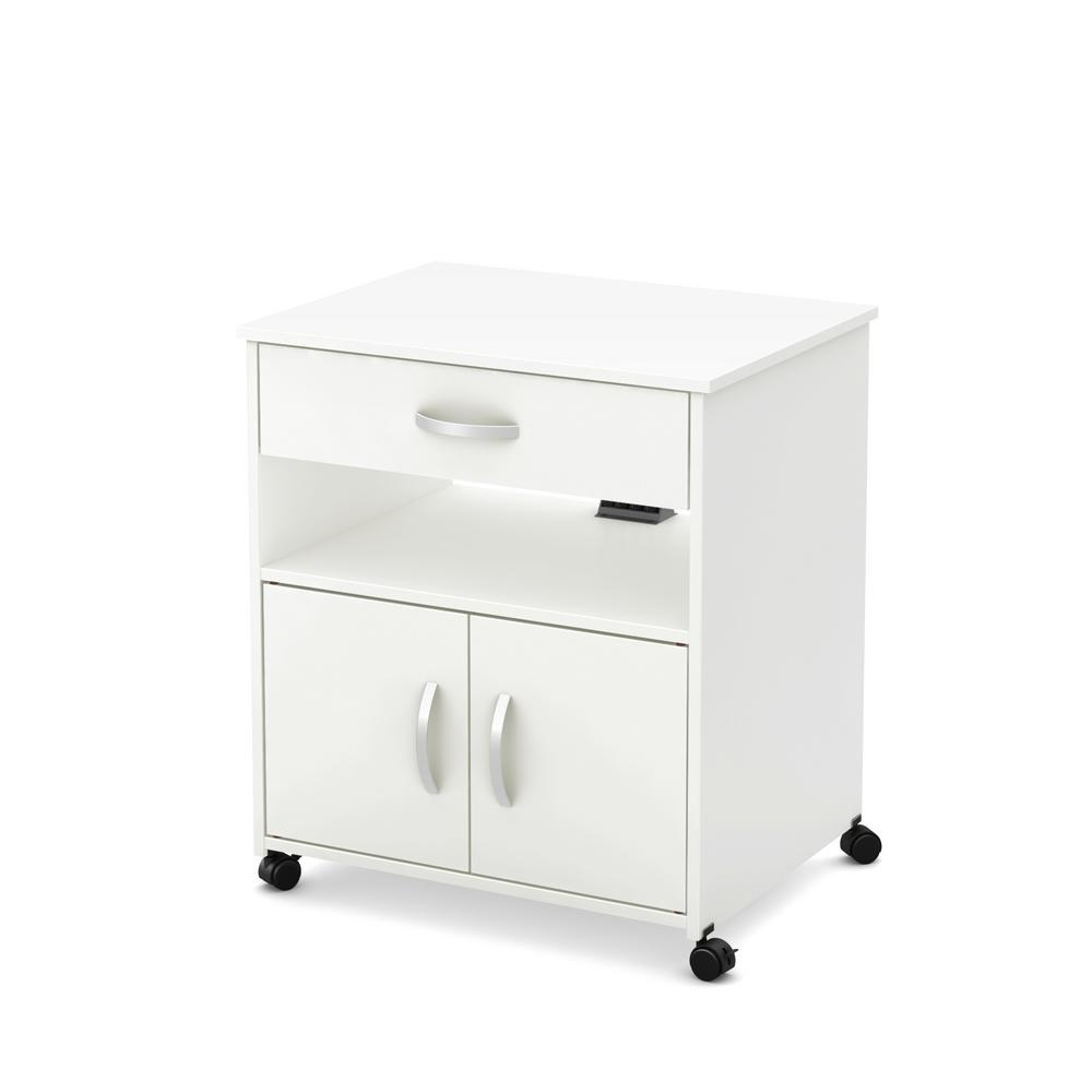 South S As Microwave Cart On Wheels Pure White