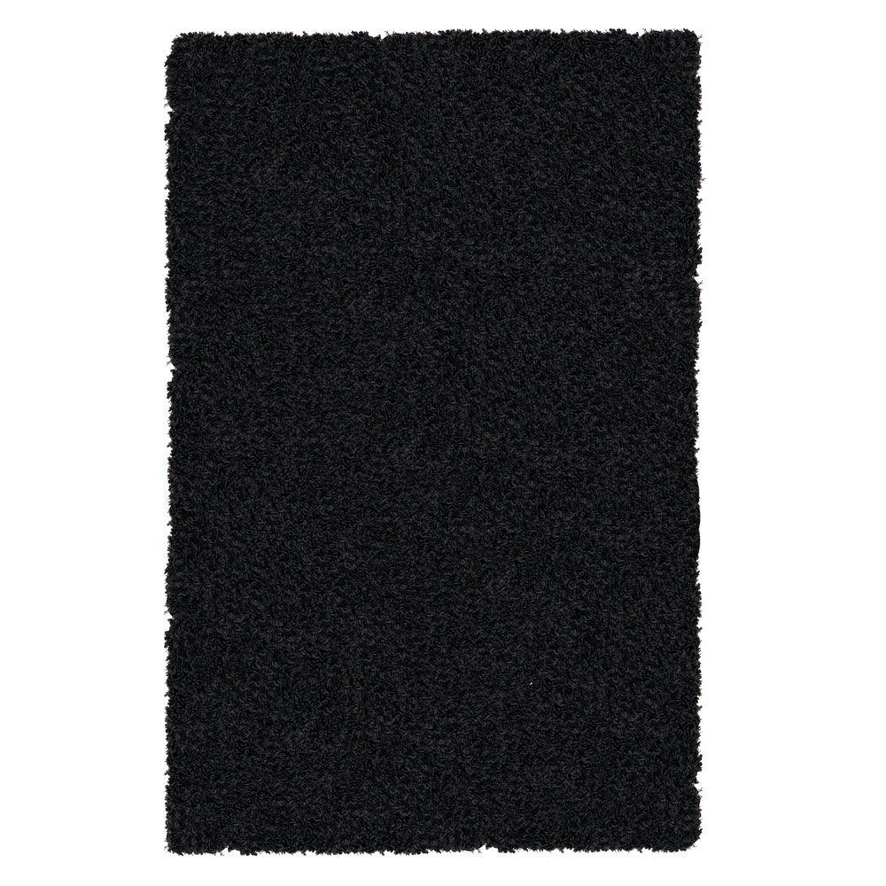 iCustomRug Shag-a-liscious Black 8 ft. x 10 ft. Area Rug