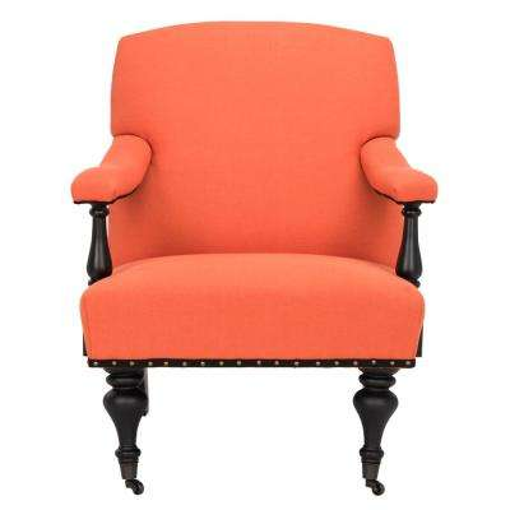 Devona Orange and Black Polyester/Linen Arm Chair