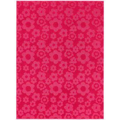 Flowers Pink 5 ft. x 7 ft. Area Rug