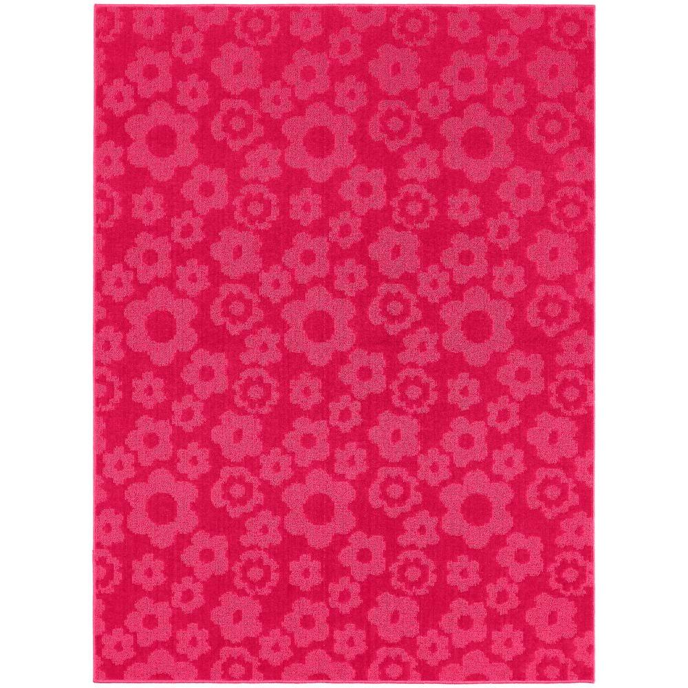 Garland Rug Flowers Pink 7 Ft. 6 In. X 9 Ft. 6 In. Area