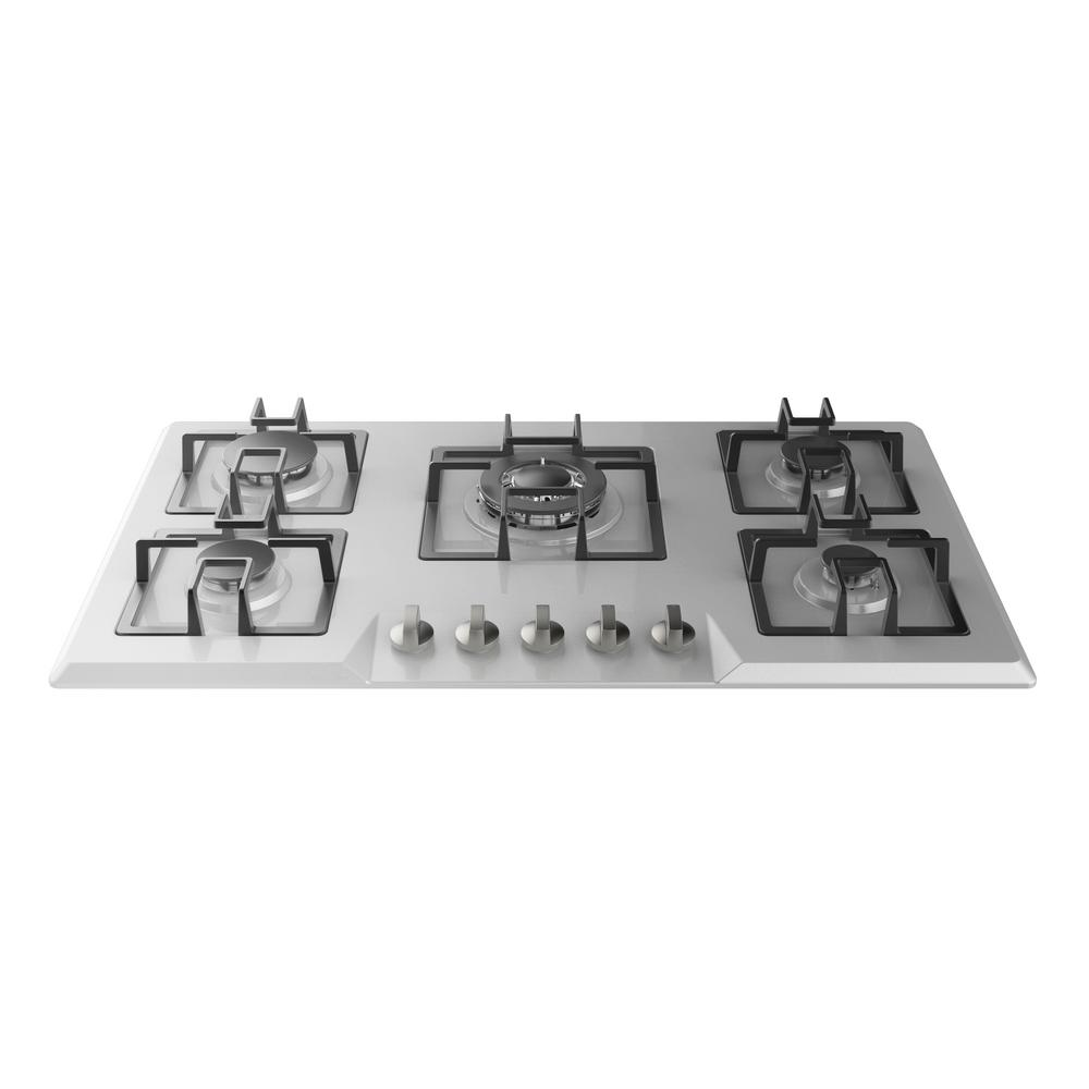 """Empava 34 in. Gas Stove Cooktop in Stainless Steel (Silver) with 5 Italy Sabaf Burners The next high-end US & Canada CSA certified gas cooktop by Empava Appliances Inc., it's the real """"secret weapon"""" behind many great meals. Let this gas operated appliance give you the utmost in cooking flexibility and help you cook like a professional chef in your own home. Still hesitating? Check out the Empava electric induction cooktop and wall ovens as well! Color: Stainless Steel."""