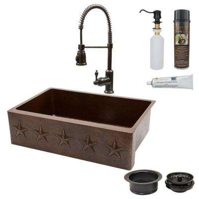 All-in-One Farmhouse Apron-Front Copper 33 in. Single Basin Kitchen Sink with Star Design in Oil Rubbed Bronze