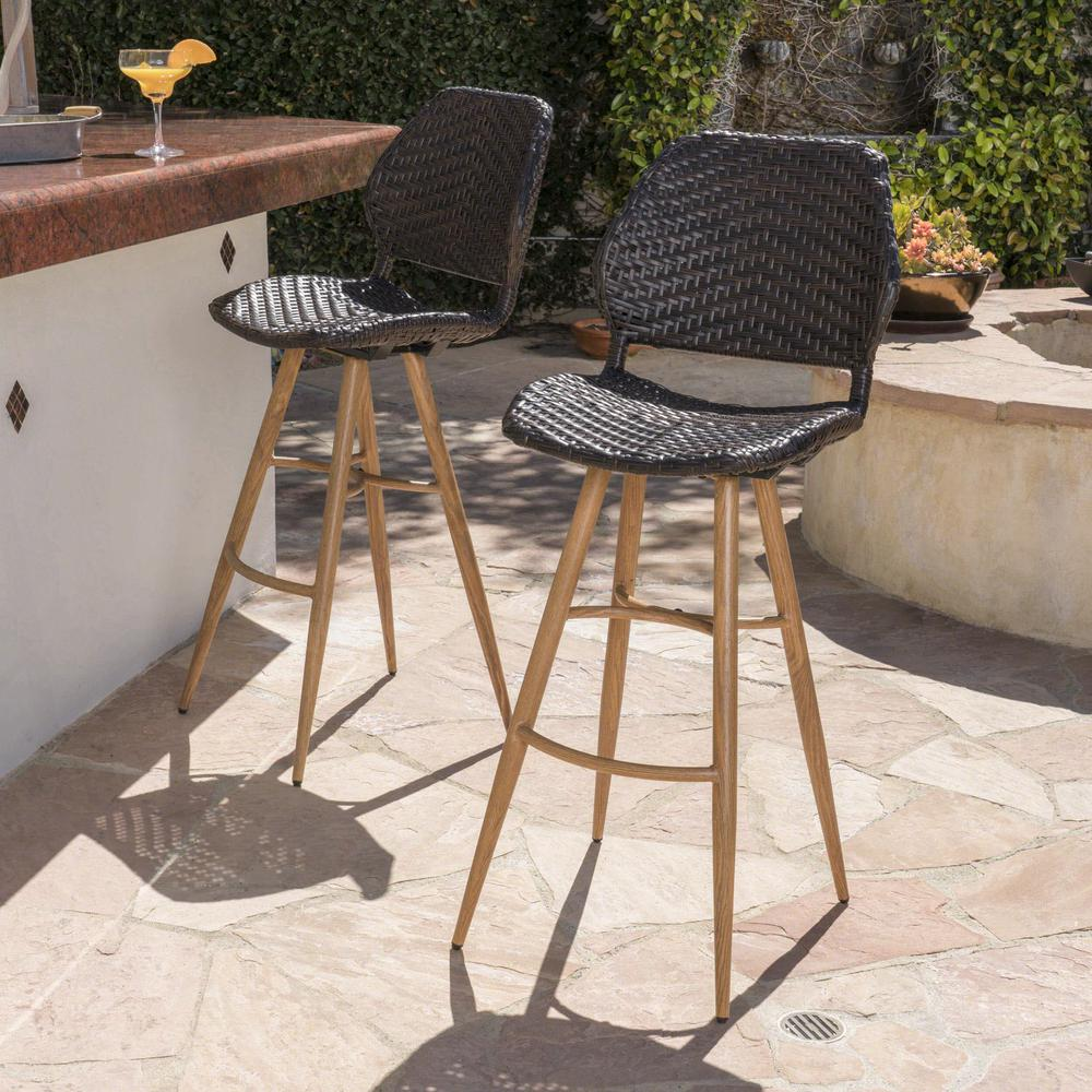 Noble House Bianca Wicker Outdoor Bar Stool with Brown Wood Finish Metal Legs (2-Pack)