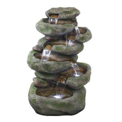 Alpine 47 in. Tall Rainforest Rock Cascading Fountain with LED Lights