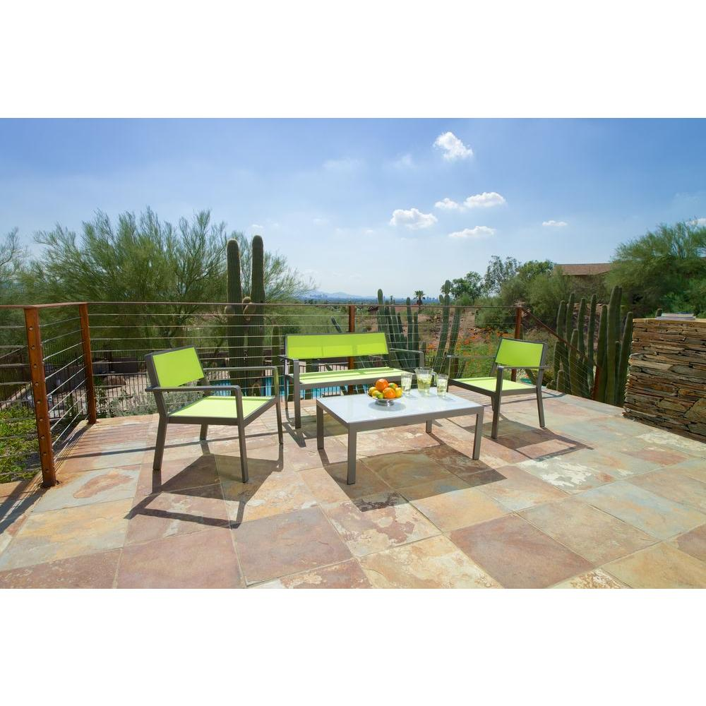 RST Brands Sol Sling Lime Green 4-Piece Patio Seating Set