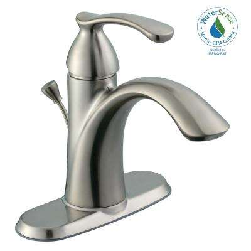 Edgewood 4 in. Centerset Single-Handle High-Arc Bathroom Faucet in Brushed Nickel