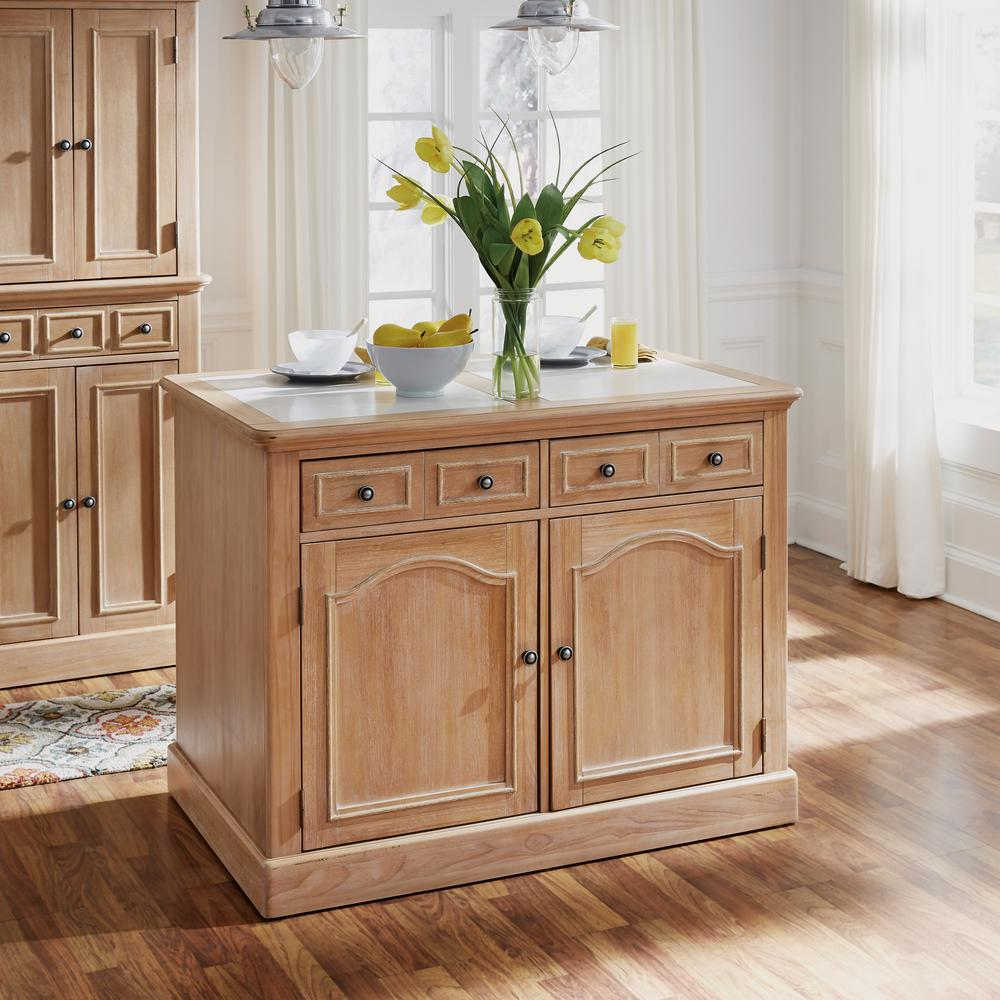 Cambridge White Washed Natural Kitchen Island with Quartz Top