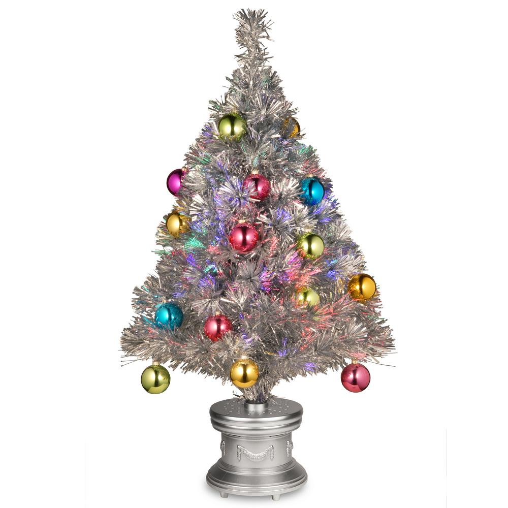 2.6 ft. Silver Fiber Optic Fireworks Ornament Artificial Christmas Tree